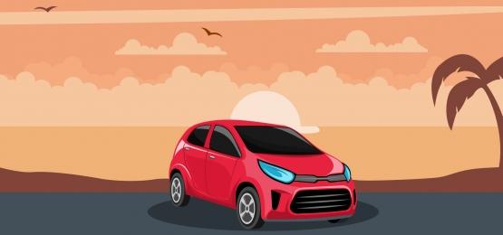समुद्र तट पर सूर्यास्त में लाल कार की पृष्ठभूमि, ड्राइव, कार, कार्टून पृष्ठभूमि छवि