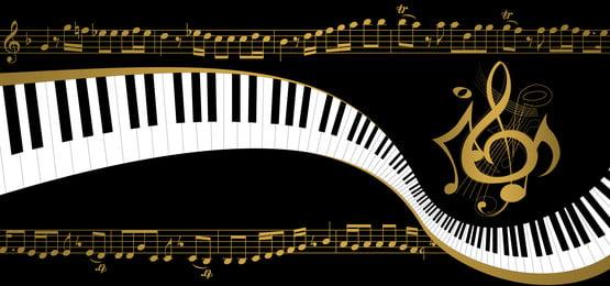 काली पृष्ठभूमि पियानो और सोने का संगीत नोट करता है, Psd, पृष्ठभूमि, बनावट पृष्ठभूमि छवि