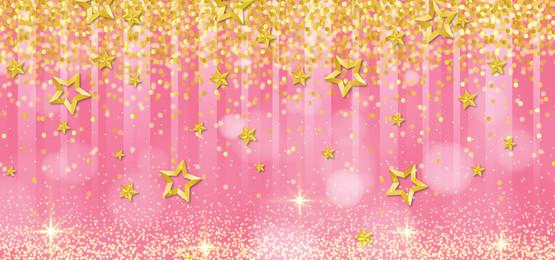गुलाबी पृष्ठभूमि टेम्पलेट में रिबन के साथ सुनहरा सितारा चमक, गुलाबी, गुलाबी पेस्टल, सुनहरे सितारे पृष्ठभूमि छवि