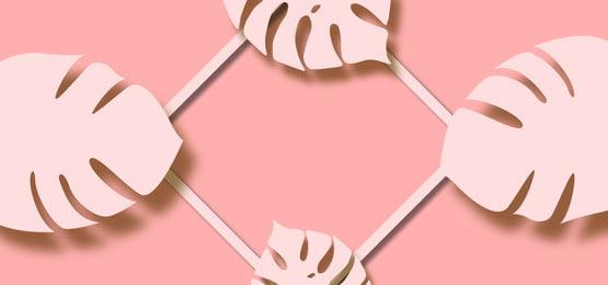 daun cutout dengan bingkai persegi pada latar belakang pastel merah jambu, Latar Belakang, Bunga, Daun imej latar belakang