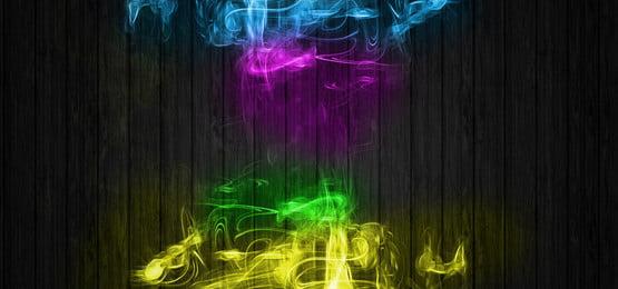 rainbow colorful abstract smoke on wooden dark background, Rainbow, Wood, Panels Background image