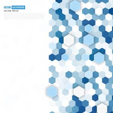tờ rơi hình học trừu tượng với hình lục giác màu xanh trắng , Ba Chiều, Abstract, Lục Giác Hình Ảnh nền