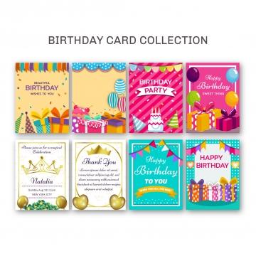 彩色生日賀卡的集合 , 生日, 邀請, 生日快樂 背景圖片