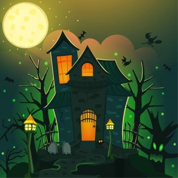 खौफनाक प्रेतवाधित घर हेलोवीन चित्रण , अक्टूबर, चित्रण, पृष्ठभूमि पृष्ठभूमि छवि