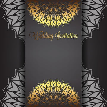 gold wedding invitation background with mandala ornament , Template, Pattern, Gold Background image