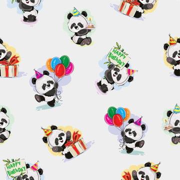 पांडा बेबी भालू जन्मदिन सहज पैटर्न मनाता है , पशु, कला, एशिया पृष्ठभूमि छवि