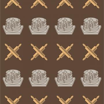 सहज पैटर्न बेकरी उत्पाद रोलिंग पिन ब्राउन पृष्ठभूमि , प्रतीक, रसोई, कप केक पृष्ठभूमि छवि