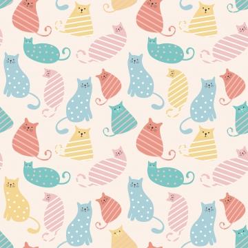 पेस्टल रंग के साथ बिल्ली के पैटर्न प्यारा अक्षर , बिल्ली, वेक्टर, सुंदर पृष्ठभूमि छवि