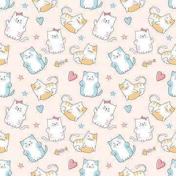 प्यारा बिल्लियों सहज पैटर्न कार्टून अजीब चरित्र ड्राइंग वेक्टर चित्रण बच्चों और बच्चे फैशन कपड़ा प्रिंट के लिए तैयार है , बिल्ली, बच्चे, लड़की पृष्ठभूमि छवि