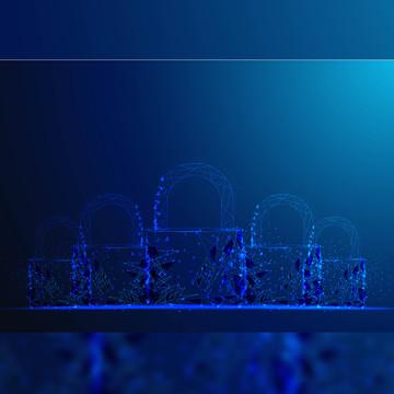 padlock polygonal mesh wire look on dark blue background , Lakaran, Geometri, Polygon imej latar belakang