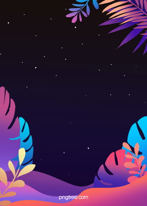 グラデーション植物手描きの紫色の背景, 植物, ジャングル, 木の葉 背景画像