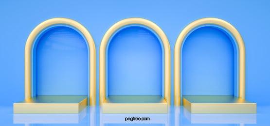 3d blue minimalist geometric stage, 3d, Fashion, Geometric Background image