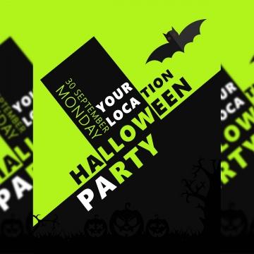 उड़ने वाले बल्ले के साथ काले और फ्लोरोसेंट हरे रंग में एक सुंदर हेलोवीन पार्टी पोस्टर डिजाइन , खोखला पोस्टर, हैलोवीन पार्टी के पोस्टर डिजाइन, काली पृष्ठभूमि उड़ता डिजाइन पृष्ठभूमि छवि