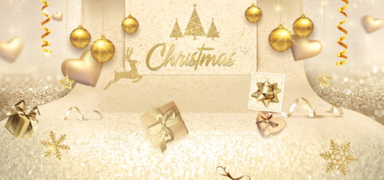 christmas holiday gold background, Festival, Baloons, Gift Box Background image