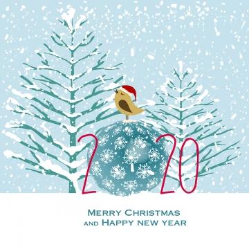 christmas tree and bird card 2020 , Tree, Snow, Christmas Background image