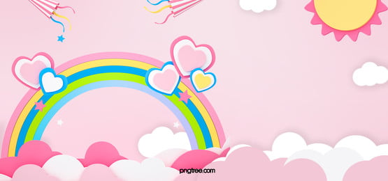 cute pink sky clouds hot air balloon rainbow background, Flaky Clouds, Hot Air Balloon, Rainbow Background image