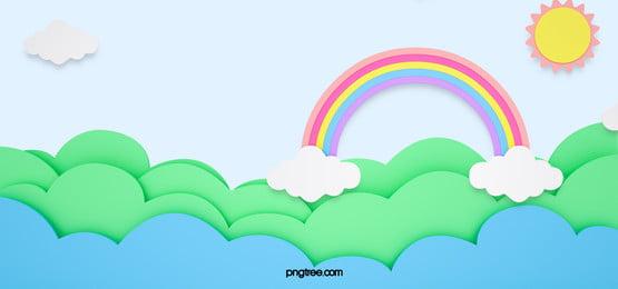 緑の雲、熱気球の虹の背景, 白, ブルー, 雲の輪 背景画像