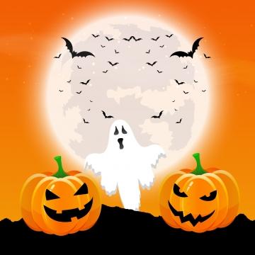 एक चांदनी भूमि में कद्दू और भूत के साथ हेलोवीन पृष्ठभूमि , हेलोवीन, भूत, Specture पृष्ठभूमि छवि