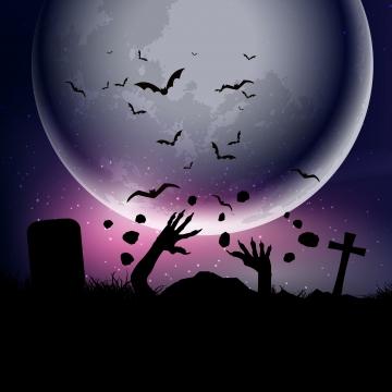 चांदनी आकाश 0209 के खिलाफ ज़ोंबी हाथों के साथ हेलोवीन पृष्ठभूमि , हेलोवीन, पृष्ठभूमि, वेक्टर पृष्ठभूमि छवि