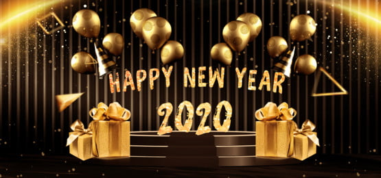 happy new year 2020 background with balloons and gift boxes, Happy New Year, 2020, Gift Box Background image