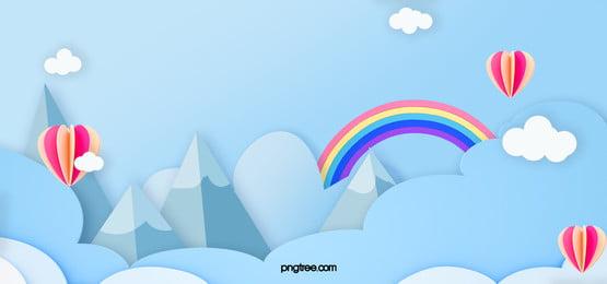 熱氣球藍色天空雲朵彩虹高山背景, 雲朵, 彩虹, Hot Air Balloon 背景圖片