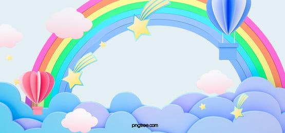 गर्म हवा के गुब्बारे बैंगनी बादल कागज कट इंद्रधनुष उल्का पृष्ठभूमि, नीले, बादल, Hot Air Balloon पृष्ठभूमि छवि