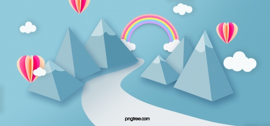 दर्शनीय नीले पहाड़ इंद्रधनुषी गर्म हवा के गुब्बारे की पृष्ठभूमि, पहाड़ों, नीले, इंद्रधनुष पृष्ठभूमि छवि