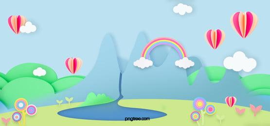 スカイブルーの山の森の虹の背景, 雲の輪, 虹, Hot Air Balloon 背景画像