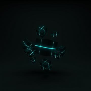 सार 3 डी उड़ान क्यूब्स के अंदर नीयन प्रकाश के साथ , चित्रण, 3 डी, सार पृष्ठभूमि छवि