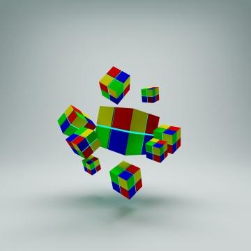 सफ़ेद पृष्ठभूमि पर सार 3 डी रूबिक्स क्यूब फ्लाइंग , चित्रण, 3 डी, सार पृष्ठभूमि छवि