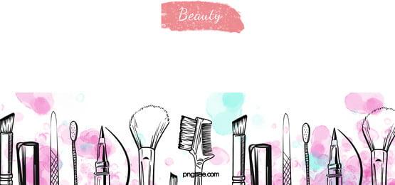 黑色線性化妝品水彩暈染背景, 線性, 化妝品, 眉筆 背景圖片