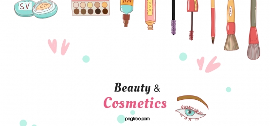cartoon realistic cosmetics top arranged with red hearts and blue dots dotted background, Cosmetic, Cartoon, Realism Background image
