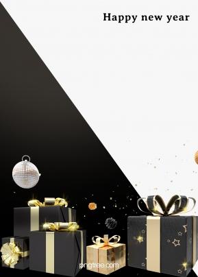 새해 검은 금 선물 검은 색과 흰색 배경을 축하 , 흑백 금, 흑백 흑백, 선물 배경 이미지