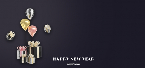 celebrate new year wrapped gift balloons black background, New Year, Celebrating, Black Background image
