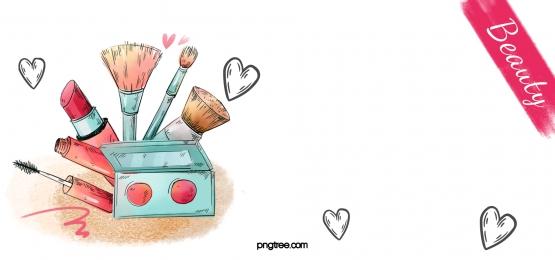 hand drawn cartoon cosmetics black peach heart background, Cosmetic, Cartoon, Hand Painted Background image