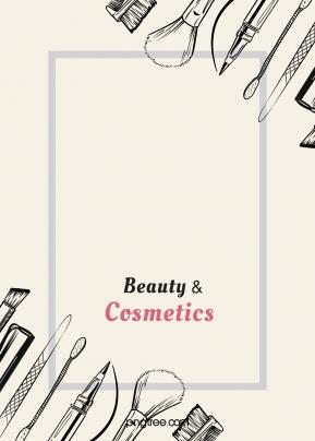 線性筆類化妝品對角方框米色背景 , 化妝品, 方框, 米色 背景圖片