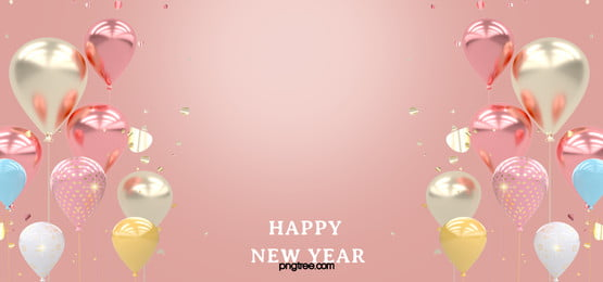 new year celebration pink gold symmetric floating balloons background, Float, Balloon, Powder Gold Background image