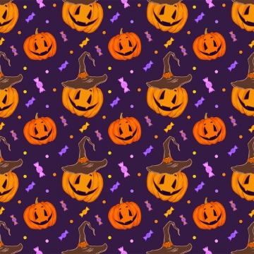 कद्दू और कैंडी के साथ पैटर्न , हेलोवीन, कद्दू, टोपी पृष्ठभूमि छवि