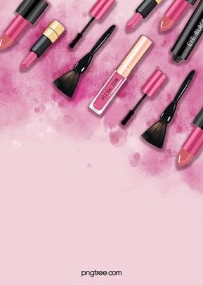 粉紅色水彩暈染化妝品背景, 化妝品, 粉色, 紅色 背景圖片