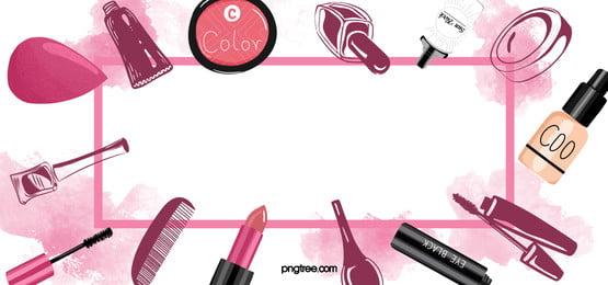 寫實單色化妝品環繞線性方框紅色水彩暈染背景, 化妝品, 線性, 紅色 背景圖片