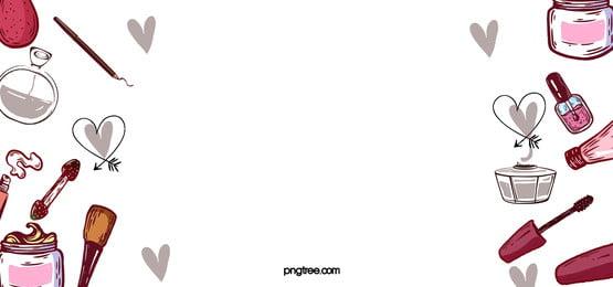 對稱線性卡通化妝品灰色桃心點綴背景, 化妝品, 桃心, 點綴 背景圖片