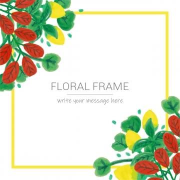 水彩花卉框架與花朵葉子 , 花, 水彩畫, 花 背景圖片