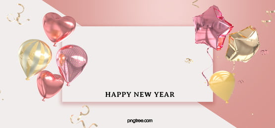 white box pink gold new year celebration balloon background, New Year, Celebrating, Powder Gold Background image