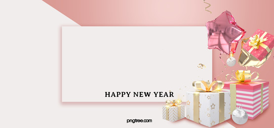 white box pink gold wrapped gift balloon new year celebration background, New Year, Celebrating, Powder Gold Background image