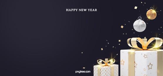 white gold wrapped gift new year celebration black background, New Year, Celebrating, Black Background image