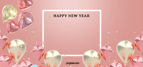 white hollow box pink gold balloons surround new year celebration background, New Year, Powder Gold, Pink Background image