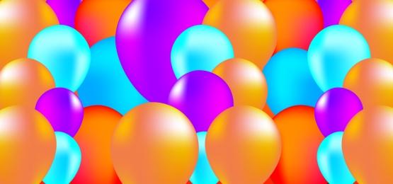생일 축하합니다 배경, 풍선, 컬러, 리본 배경 이미지