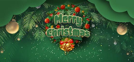 हरे रंग की पृष्ठभूमि में मेरी क्रिसमस और लॉरेल पुष्पांजलि, लॉरेल पुष्पांजलि, हिमपात का एक खंड, स्पार्कलिंग पृष्ठभूमि छवि