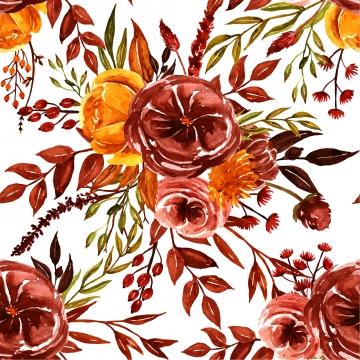 पानी के रंग का नारंगी भूरा पीला गिर पुष्प सहज पैटर्न , गिरावट, डिजाइन, प्रकृति पृष्ठभूमि छवि