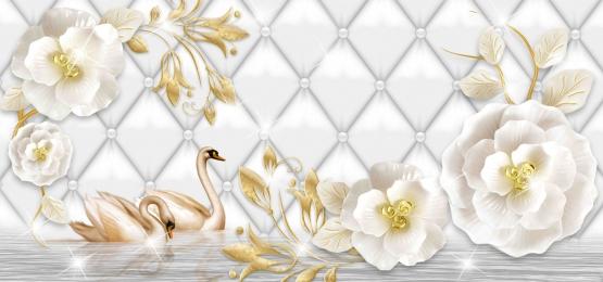 3d hình nền hoa trừu tượng, 3d Hình Nền Hoa Trừu Tượng, Hoa Vàng, Những Bông Hoa Hồng Trắng Ảnh nền